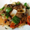 Beef & Green Pepper with Black Bean Sauce on Crispy Noodle